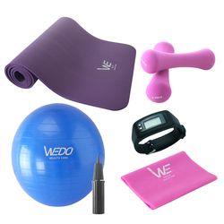 YOGA SET WEDO (thảm + cặp tạ + dây tập) + 1 bóng tập (đi kèm bơm) + 1 đồng hồ thể thao đo nhịp tim