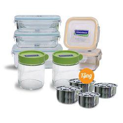 [GN-Glass lock] Bộ bảo quản thực phẩm 5món +2 hũ thủy tinh 400ml(tặng bộ 4 nồi inox cao cấp)