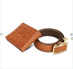 LAKA - Combo 2 bóp & 2 dây nịt da thật(dập vân cá sấu)