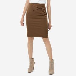 Chân váy nâu đậm đính nơ Leena 8VN09