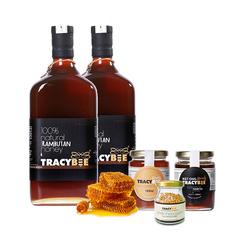 Tracybee _02 chai (600ml/chai) Mật ong Chôm Chôm + 2 hủ mật ong 189ml / hủ + 1 lọ phấn hoa 50gr-live