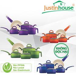 Bộ 4 nồi 1 chảo Ceramic Justin House Bốn Mùa(G/V/B/O)