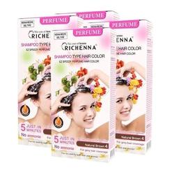 RICHENNA PERFUME-Bộ 3 hộp nhuộm tóc dạng dầu gội Richenna PerfumeTặng 1 hộp