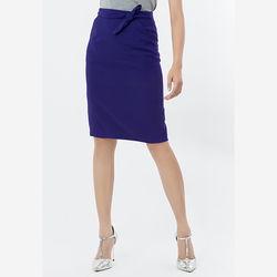 Chân váy ôm có dây thắt nơ eo tím Leena 8VN013