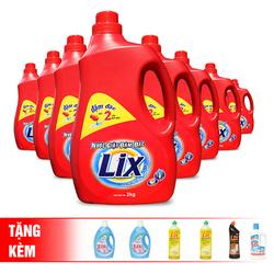 [LIX] Bộ 8 chai nước giặtTặng 2 chai nước xả vải +2 chai rửa chén 400G+1 chai lau sàn +1 tẩy toilet
