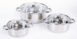 Bộ 3 nồi Inox nắp kính cao cấp EL Happy cook + 1 chảo chống dính size 22