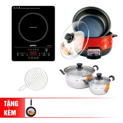 [GOLDSUN] Bếp hồng ngoại cảm ứng -GIFR-T11(Kèm vỉ nướng)+Nồi lẩu điện 3L+2 nồi inox 3 đáy+chảo 20cm