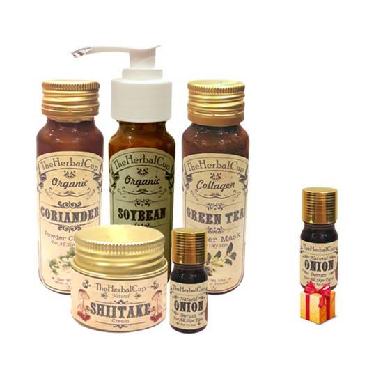 Combo trị mụn và thâm cho da nhờn The Herbal Cup + 1 serum hành tây