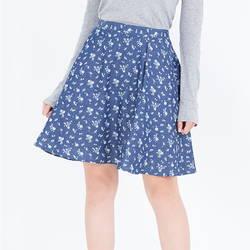 Chân váy denim hoa trắng nhí 2VN011