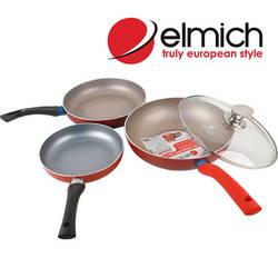 Bộ 3 chảo chống dính Elmich (+1 chảo vuông 14cm+1 bình giữ nhiệt 500ml+1 nạo khoai+ 1 xẻng lật)