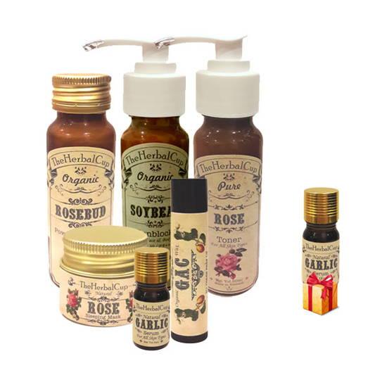 Combo trị mụn và thâm cho da khô nhạy cảm The Herbal Cup + 1 serum tỏi