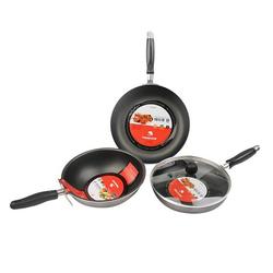 Bộ 3 chảo chống dính cao cấp Happy Cook + 1 nồi inox nắp kính 3 đáy size 16cm