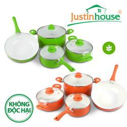 Bộ 3 nồi 1 chảo Ceramic bếp từ Justin House (Xanh + Cam) - (GIẢM 400.000)