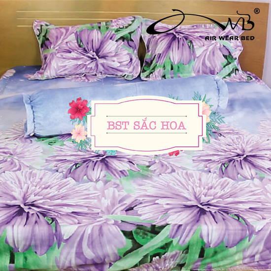 AIR WEAR BED- Bộ chăn drap SẮC HOA 1m6 tặng 1 drap bọc cùng mẫu