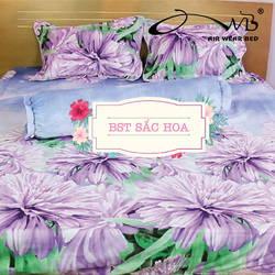 AIR WEAR BED- Bộ chăn drap SẮC HOA 1m8 tặng 1 drap bọc cùng mẫu
