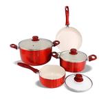 Bộ 3 nồi 1 chảo Ceramic bếp từ ILO Phú Quý (đỏ bóng)