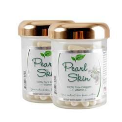 Bộ 3 hộp viên uống trắng da Pearl skin Collagen (2+1) + 1 son + 1 bóp + 3 mặt nạ