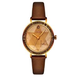 Đồng hồ nữ màu nâu mặt tròn viền đá Julius JA-823