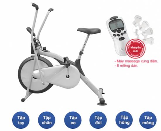 Xe đạp tập Air Bike + Máy massage xung điện 8 miếng dán