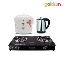 Combo GĐ: Bếp gas đôi Goldsun + Nồi cơm 1.2L Goldsun + Bình đun Goldsun 1.8L
