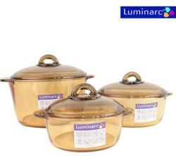 (GN) Bộ 3 nồi thủy tinh Luminarc (1L, 2L, 3L)