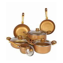 Bộ 3 nồi 1 chảo đáy từ Ilo Hoàng Kim (nồi mini, chảo sâu lòng 26)(Gold)