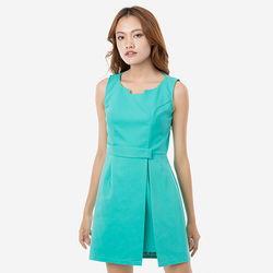 Đầm xanh chữ A cổ cách điệu Leena 8DN07