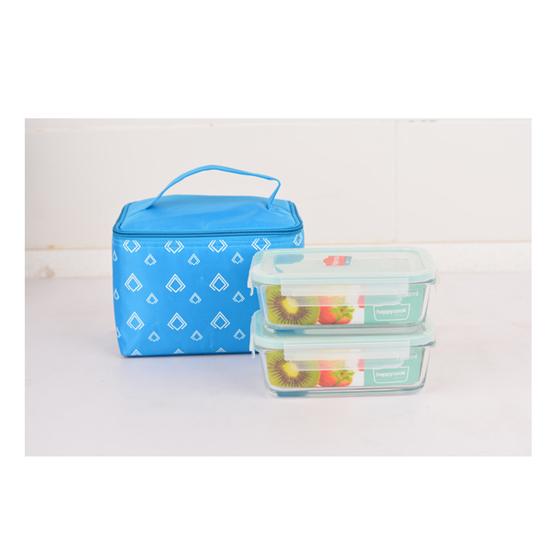 Bộ 2 hộp Happy Cook Glass chữ nhật 400ml + 1 túi giữ nhiệt - JCG-02RTG
