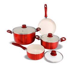Bộ 3 nồi 1 chảo Ceramic bếp từ ILO Phú Quý ( 1 nồi lẩu+1 nồi mini+1 chảo 26)(red)