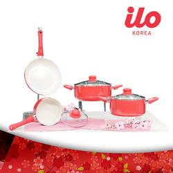 Bộ 3 nồi + 1 chảo Ceramic ILO tặng 1 nồi mini+1 chảo28cm+nồi cơm điện Justin House 1L+ dao Rotel