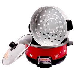 Nồi lẩu điện nấu cơm 3L Goldsun GAL-368 (kèm xửng hấp) (L)
