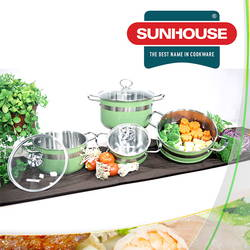 Bộ nồi xửng inox 3 đáy sắc màu Sunhouse - LIVE