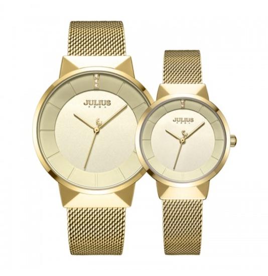 Cặp đồng hồ nam/nữ mạ vàng Julius-1104B