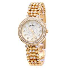 Đồng hồ nữ ba kim màu vàng đính đá Julius JA-821