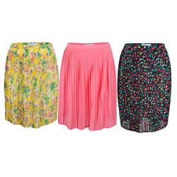 Chân váy ly hoa vàng + hồng + đen (Đ98+Đ100+Đ103)