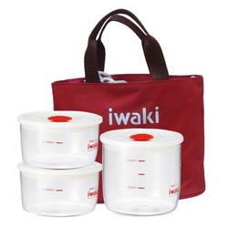 Bộ hộp cơm thủy tinh IWAKI (7014SM :02 cái,7014MP:1 cái, 1 túi xách màu đỏ)