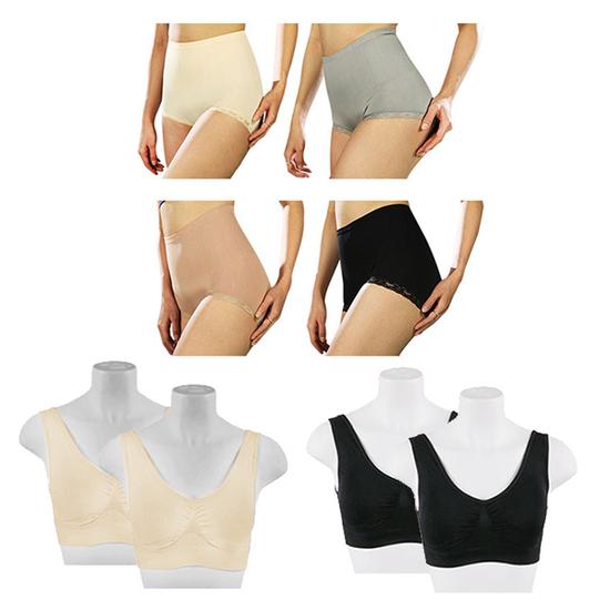 LaKa - Bộ tạo dáng thon gọn (4 quần lót gen + 4 áo ngực) tặng 2 quần Legging + 4 quần lót ren 58'
