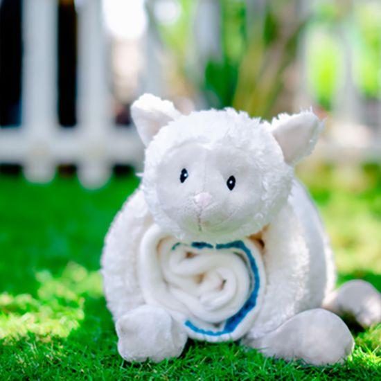 Bộ thú  bông mền và gối hình con cừu + Thú bông hình con cú màu xanh