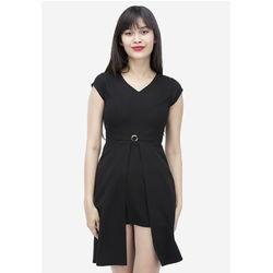 Đầm đen xẻ cách điệu đính khuy 7DN04