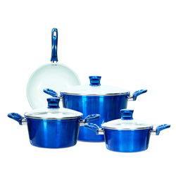 [GN Ilo Blue Metalic]Bộ 3 nồi 1 chảo Ceramic bếp từ ILO Gia Bảo(18-20-26)