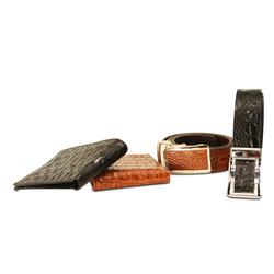 Combo 2 bóp & 2 dây nịt da thật(dập vân cá sấu) LAKA nâu và đen