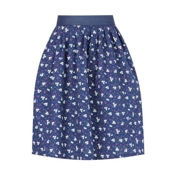 Chân váy hoa xanh trắng xếp ly, lưng phối da Leena 1VN035