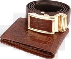 LAKA - Combo Belt & Wallet vân cá sấu + tặng 1 túi đeo chéo