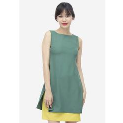 Đầm xanh vàng xẻ tà cách điệu 7DN07