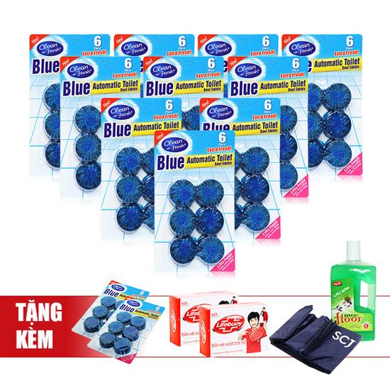 Blue-Bộ 10 vỉ về sinh bồn cầu tặng 2 vỉ + 2 cục xà phòng + 1 chai nước lau sàn + 1 áo mưa