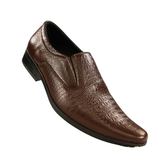 Giày nam chất liệu da bò thật dập vân cá sấu LAKA màu nâu