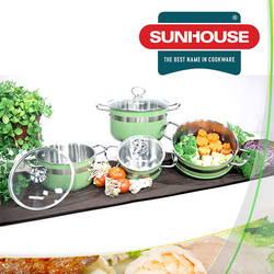 Bộ nồi xửng inox 3 đáy sắc màu Sunhouse (tặng 1 chảo CT16, 1 chảo CT20)