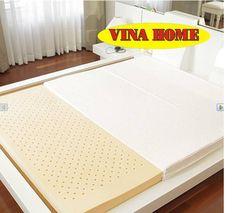 Nệm cao su nhân tạo Vina Home (1m6*2m*9cm) + 3 gối+ 1 bộ drap không mền