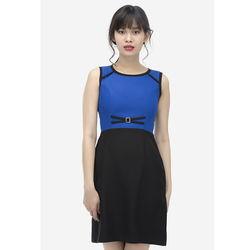 Đầm ôm xanh phối đen có khuy 7DN012