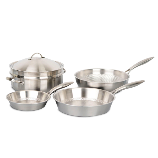 [GN] Bộ 3 chảo 1 xửng hấp Happy cook